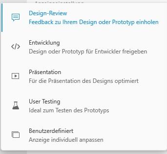Adobe XD Freigabe Optionen