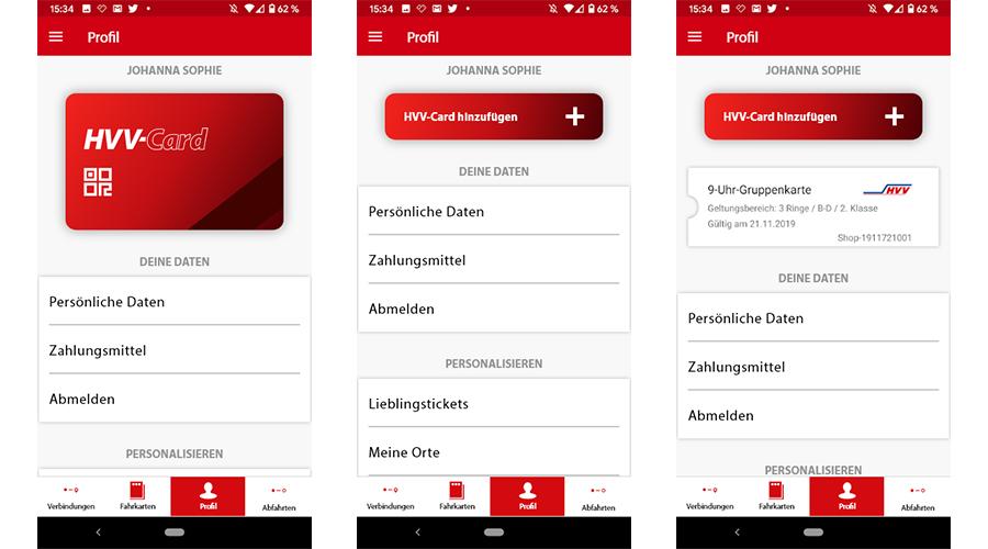 HVV App drei Screenshots aus dem Redesign